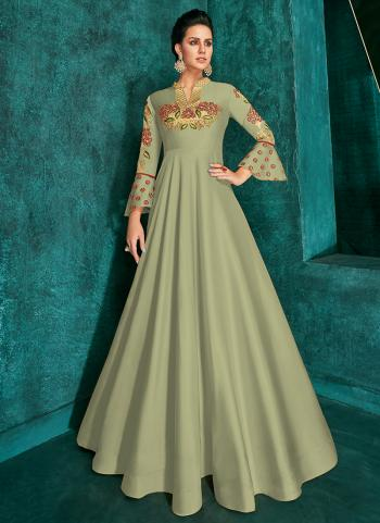 Traditional Wear Green Silk Embroidery Work Gown