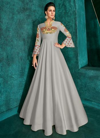 Traditional Wear Grey Silk Embroidery Work Gown