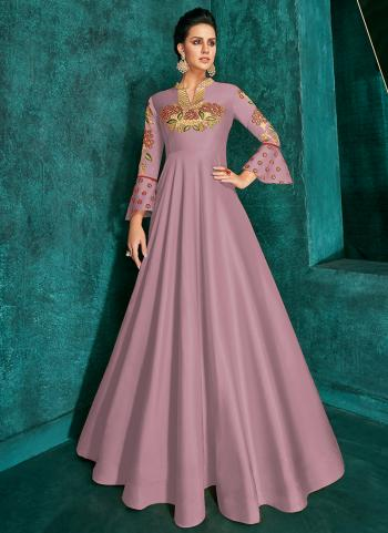 Traditional Wear Pink Silk Embroidery Work Gown