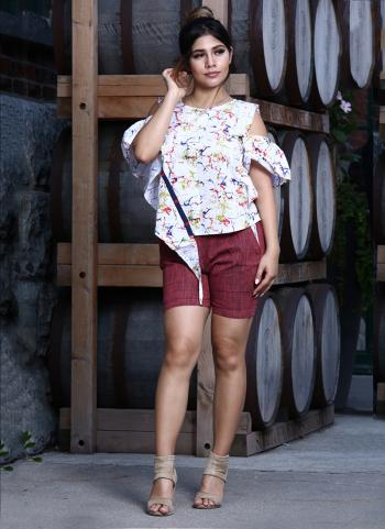 Casual Wear White Cotton Printed Work Top With Bottom