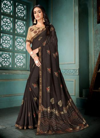 Party Wear Brown Silk Lace Work Saree