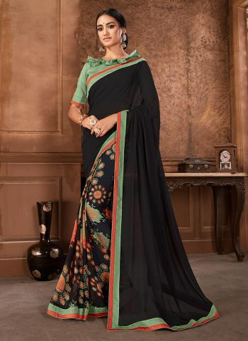 Daily Wear Black Georgette Printed Work Saree