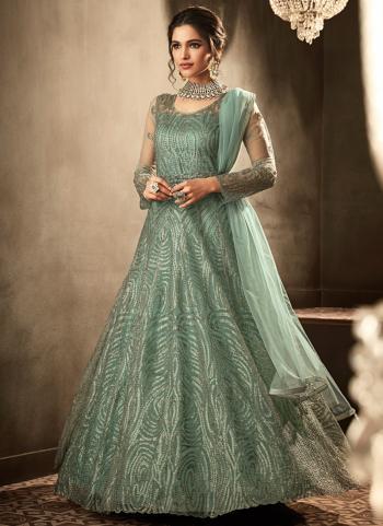 Reception Wear Green Net Hand Work Anarkali Suit