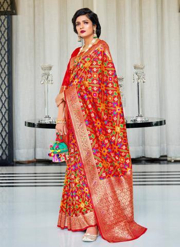 Wedding Wear Red Silk Weaving Saree