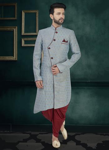 Wedding Wear Blue Silk Weaving Sherwani