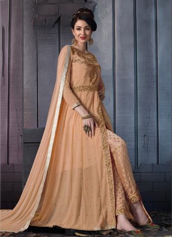 Peach Georgette Party Wear Embroidery Work Anarkali Suit