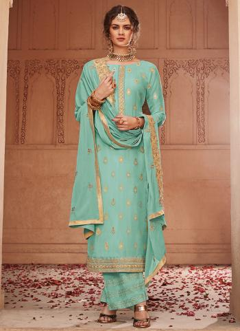 Green Jacqaurd Wedding Wear Weaving Palazzo Suit