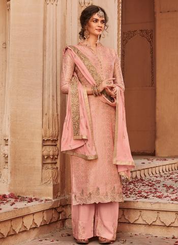 Pink Jacqaurd Wedding Wear Weaving Palazzo Suit