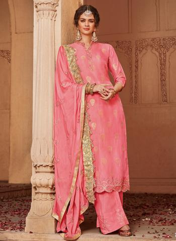 Pink Jacqaurd Wedding Wear Weaving Palazzo Suit