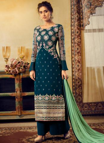 Blue Georgette Traditional Wear Embroidery Work Palazzo Suit