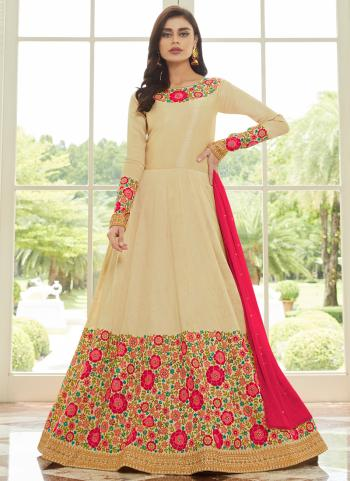 Beige Silk Festival Wear Embroidery Work Anarkali Suit