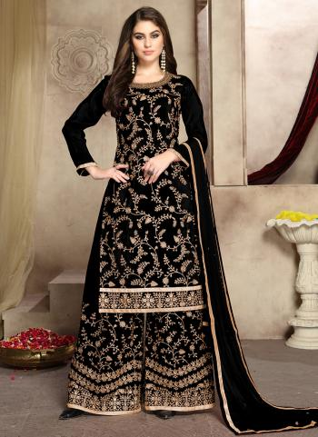 Black Viscose Wedding Wear Embroidery Work Palazzo Suit