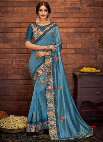 Blue Silk Wedding Wear Embroidery Work Saree