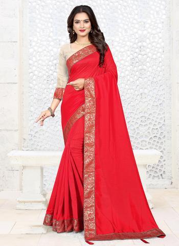 Red Silk Festival Wear Lace Work Saree