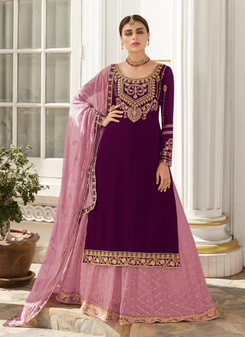 Purple Georgette Wedding Wear Embroidery Work Lehenga Suit