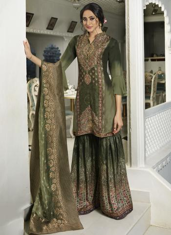 Green Silk Party Wear Hand Work Suit Sharara Pants