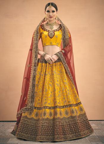 Yellow Satin Wedding Wear Zari Work Lehenga Choli