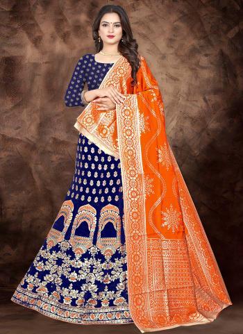 Blue Silk Traditional Wear Jacquard Lehenga Choli