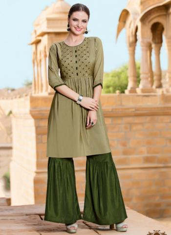 Peach Chanderi Casual Wear Hand Work Kurti With Sharara