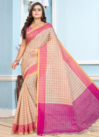 Daily Wear Pink Cotton Printed Work Saree