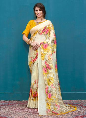 Daily Wear Yellow Crepe Printed Work Saree