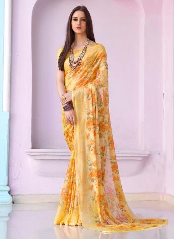 Regular Wear Yellow Chiffon Printed Work Saree