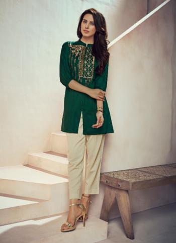 Casual Wear Green Muslin Embroidery Work Top