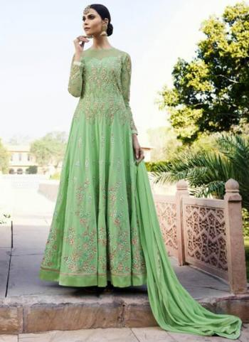 Light Green Georgette Wedding Wear Embroidery Work Anarkali Suit