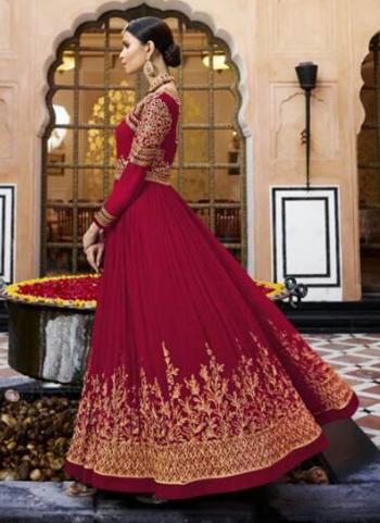 Rani Georgette Wedding Wear Embroidery Work Anarkali Suit