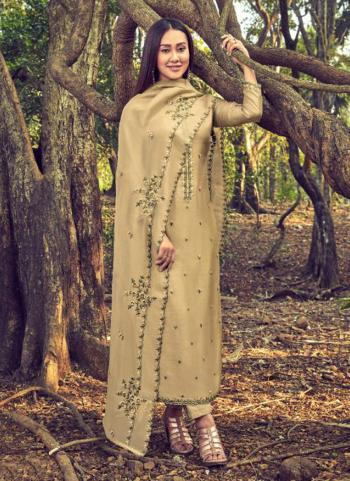 Beige Cotton Silk Casual Wear Embroidery Work Straight Suit