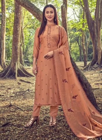 Brown Cotton Silk Casual Wear Embroidery Work Straight Suit