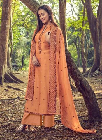 Orange Cotton Silk Casual Wear Embroidery Work Straight Suit