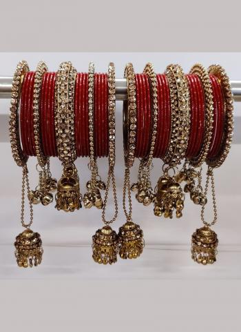 Bridal Maroon Jhumar Style Bangles Set Online Collection