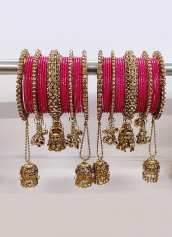 Dark Pink Alloy Wedding Wear Diamond Bangles Online Collection