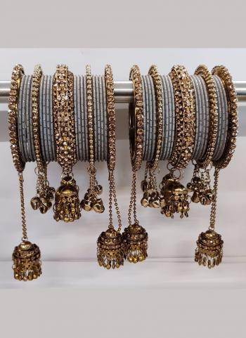 Grey And Copper New Design Jhumar Style Bangles Set Online Collection