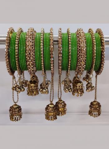 Jali Work Green And Copper Bangles Set Online Collection