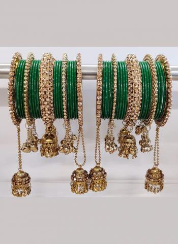 Jhumar Style Dark Green Bangles Set Online Collection