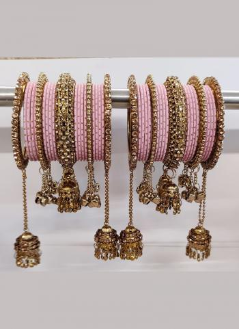 New Design Pink Color Jhumar Style Bangles Set Online Collection