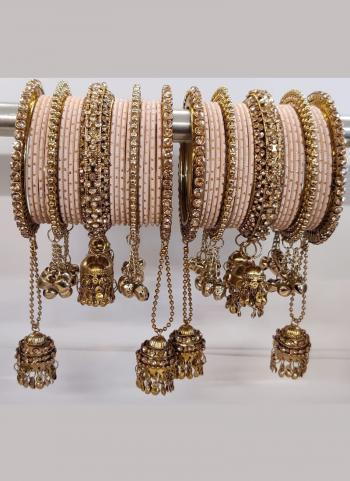 Peach  New Design Jhumar Style Bangles Set Online Collection