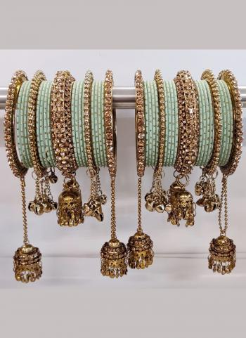 Pista Green Jhumar Style Bangles Set Online Collection