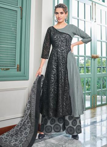 Grey Muslin Party Wear Embroidery Work Readymade Salwar Suit