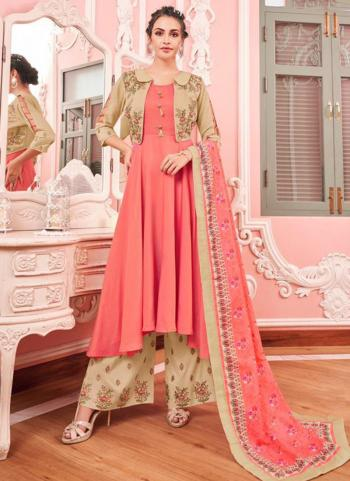 Pink Muslin Party Wear Embroidery Work Readymade Salwar Suit