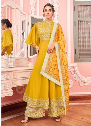 Yellow Muslin Party Wear Embroidery Work Readymade Salwar Suit
