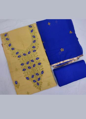 Beige Cotton Daily Wear Embroidery Work Salwar Suit