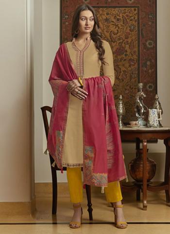 Beige Muslin Casual Wear Embroidery Work Churidar Suit