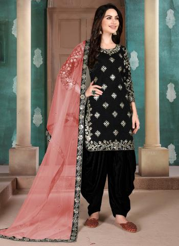 Black Art Silk Festival Wear Embroidery Work Patiala Suit