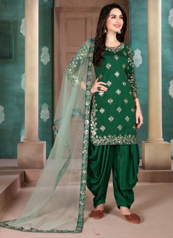 Green Art Silk Festival Wear Embroidery Work Patiala Suit