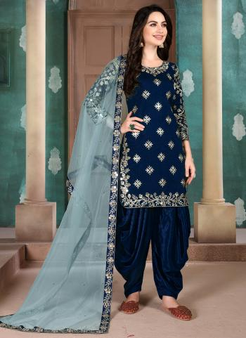 Navy Blue Art Silk Festival Wear Embroidery Work Patiala Suit
