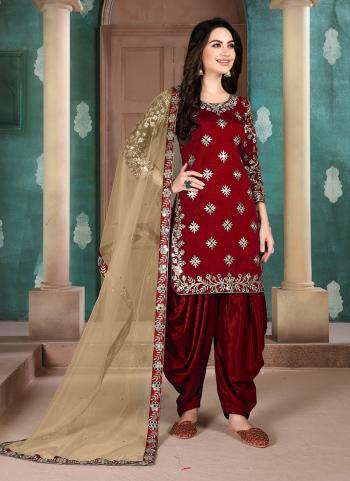 Red Art Silk Festival Wear Embroidery Work Patiala Suit