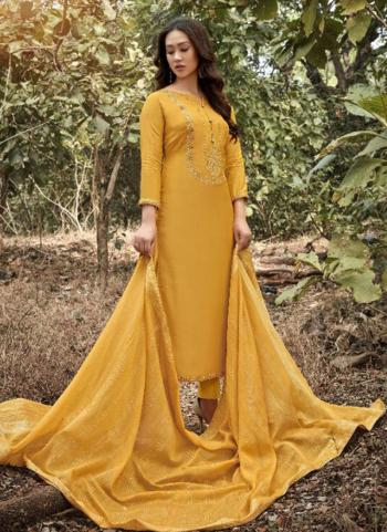 Yellow Muslin Traditional Wear Embroidery Work Straight Suit
